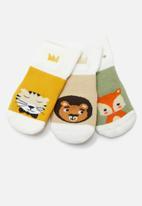 POP CANDY - 3 Pack multi animal print socks - yellow & green