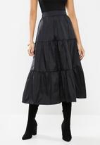 VELVET - Tiered midi skirt - black