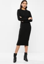 VELVET - Knit ribbed neck dress - black