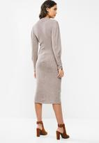 VELVET - Knit ribbed neck dress - taupe