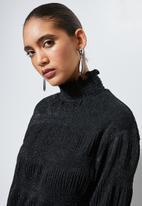 Superbalist - Plisse chiffon blouse - black