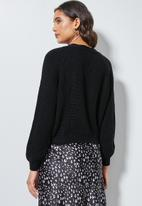 Superbalist - Knit crop cardigan - black