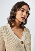 Superbalist - Knit crop cardigan - beige