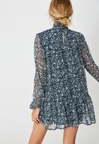 Cotton On - Woven mish shirred mock neck mini dress - Anya floral midnight navy