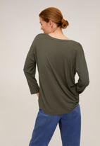 MANGO - T-shirt rib over - khaki