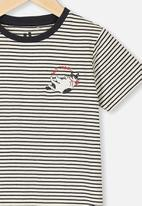 Cotton On - Penelope short sleeve tee - stripe embroided cat