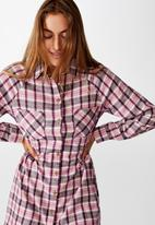 Cotton On - Woven check shirt dress - alexa check blackberry wine