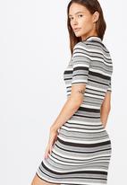 Cotton On - Tahlia true knit mini dress - Martha stripe grey