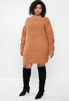 Missguided - Plus size off the shoulder jumper dress - hazel