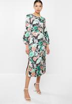 Glamorous - Long sleeve floral midi dress - multi