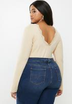 Glamorous - Plus open back bodysuit - stone
