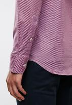 POLO - Mens James signature pattern long sleeve shirt - red & blue