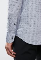 POLO - Mens Wyatt signature print long sleeve shirt - blue & green