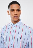 POLO - Mens Reece signature stripe long sleeve shirt-  blue & red
