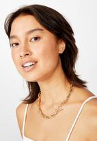 Rubi - Chunky rope chain fob treasures necklace  - gold
