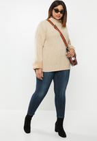 edit Plus - Ribbed balloon boxy knit - neutral