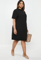 edit Plus - Flute collar shift dress - black
