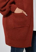 Superbalist - Dropped shoulder ropped knit cardi - brick