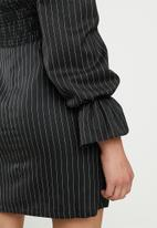 Glamorous - Puff sleeve stripe mini - black & white
