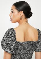Glamorous - Mini mono puff sleeve leopard dress - black & white