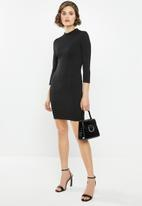 Glamorous - Petite 3/4 sleeve mini bodycon - black