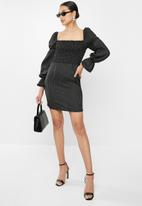 Glamorous - Petite puff sleeve stripe mini - black & white