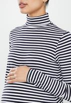 Superbalist - maternity LS turtle neck top - navy stripe