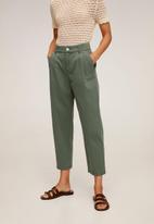 MANGO - Relexed trousers - green