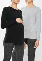 Superbalist - Maternity 2 pack long sleeve crew neck - black & grey