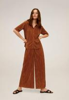 MANGO - Trousers pleated culotte trousers - brown