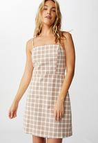 Cotton On - Woven Renee strappy mini dress - brown & white