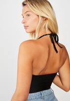 Cotton On - Penn halter tank - black jacquard