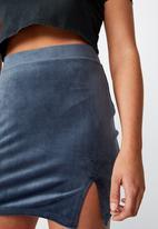 Factorie - Velvet  split skirt - midnight blue