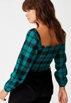Factorie - Shirred long sleeve top - pacific green & black