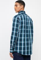 POLO - Mens keaton ls checked weekender shirt- teal