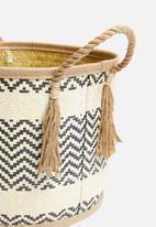 Sixth Floor - Ren woven basket - black & white