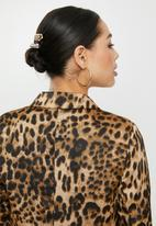 Missguided - Co ord leopard print oversized blazer - brown & black