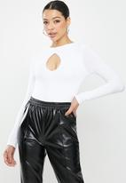 Missguided - Ribbed keyhole front bodysuit - white