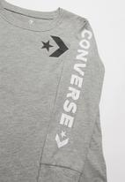 Converse - Converse boys star chevron wm long sleeve tee - grey