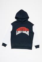 Converse - Converse boys asymmetrical colorblock hoodie - navy