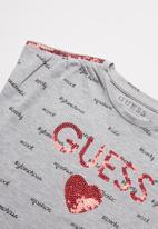 GUESS - Girls sequins detail T-shirt - grey
