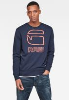 G-Star RAW - Graphic G-raw long sleeve sweat - sartho blue