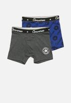 Converse - Ctp script aop boxer brief 2 pack - grey & blue