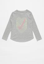 Nike - Nike girls reverb heart graph long sleeve tee - grey