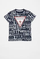 GUESS - Boys printed short sleeve T-shirt - blue & white