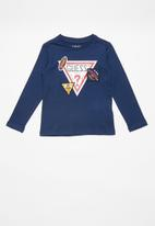 GUESS - Boys printed long sleeve T-shirt - blue