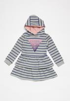 GUESS - French terry hooded dress - blue & grey