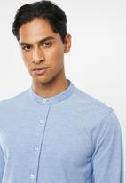 Brave Soul - Mantis pique long sleeve shirt - blue