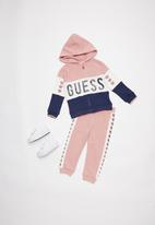 GUESS - Hooded active top - pink & navy