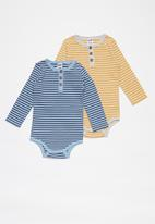 Cotton On - 2 Pack long sleeve placket bubbysuit - blue & yellow